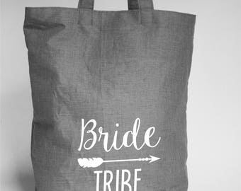 Bride Team Tribe Embroidered Tote Bags / Bachelorette Party Favors Decorations