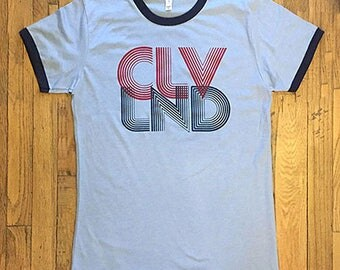 Cleveland Retro T-shirt, Women's blue ringer, retro 70s style throwback logo, Cleveland pride, soft fabric