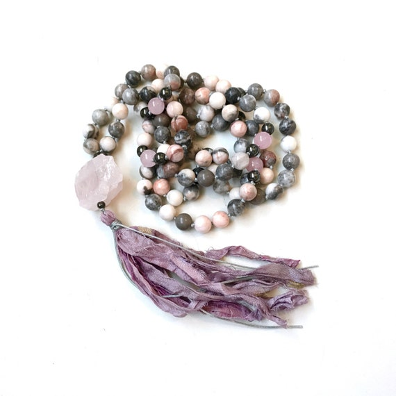 Rose Quartz Mala Beads, Open The Heart To Love Mala Necklace, Pink Zebra Jasper Mala, Yoga Meditation Beads, 108 Bead Hand Knotted Mala