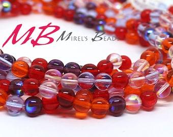 50 8mm Melonberry Mix Druk Beads, Red Tone Mix Czech Round Druk Beads,