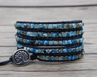 Navy Blue beads bracelet leather wrap bracelet blue fire beads bracelet boho wrap bracelet beaded bracelet gypsy bracelet Jewelry SL-0578