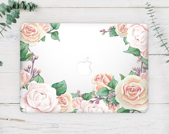 Floral Macbook Vinyl Decal Macbook Air 13 Skin Macbook Sticker Macbook 12 Decal Rose Macbook Pro Retina 15 Skin Macbook Pro 13 2017 CA3014