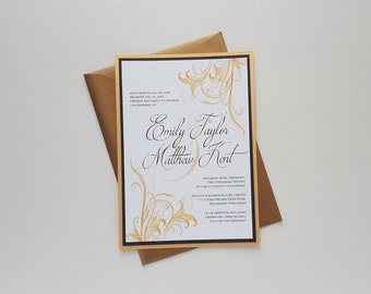 Elegant Scroll Black and Gold Wedding Invitation Suite Traditional Classic Formal Invitation Set