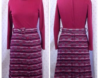 Fabulous Vintage 1960's crimson wool and rayon winter mod dress/Australian vintage/sixties/day dress