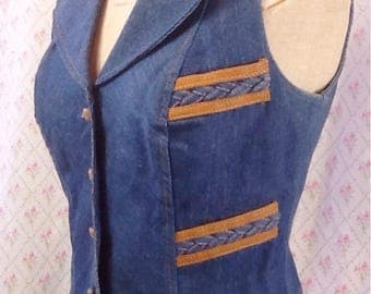 Funky vintage original 1970's women's denim waistcoat/vest with leather look trim/Charlie's Angels/iconic/ groovy