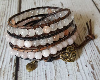 Rose & Strawberry Quartz Wrap Bracelet, Charm Bracelet, Hippie Jewelry, Quartz Bracelet, Boho Jewelry, Yoga Jewelry, x4 Wrap Bracelet Beaded