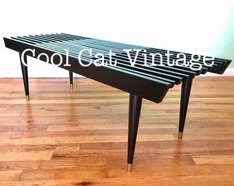 Mid Century Modern Black Slat Bench Coffee Table (*please see notes on shipping)
