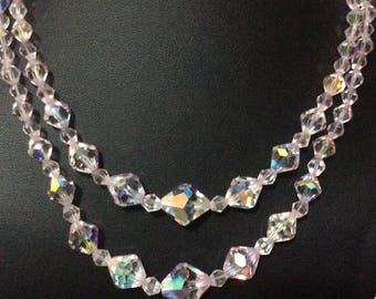Vintage 1950's Pink aurora borealis crystal two strand necklace