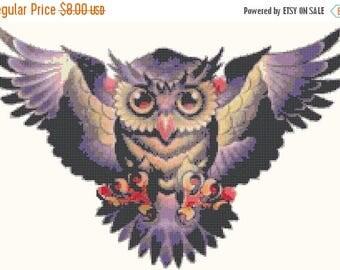 Owl Cross Stitch Pattern Sugar Skull - 220 x 148 stitches  Pdf easy cross stitch needlepoint kreuzstitch point de croix B640