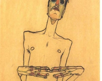 naked man by egon schiele - 161 x 204 stitches - Cross Stitch Pattern Pdf - INSTANT Download - B1041