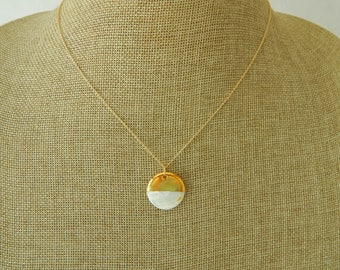 Mother of pearl charm dipped in 18kt gold plate, beach chic, boho style, delicate necklace, summer jewelry, festival fashion, white and gold
