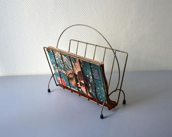Vintage magazine Rack  / newspaper holder / Made of metal and red perforated sheet / mid century home Decor