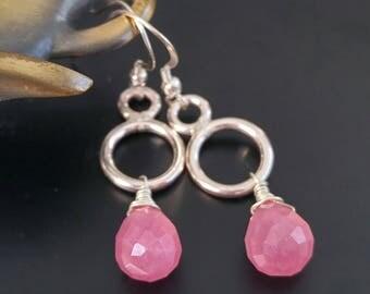 Sterling silver pink drop earrings, stone dangle earrings, jade earrings, pink gemstone earrings, fuchsia quartz earrings, circle earrings