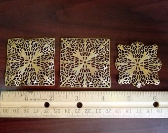 Square Brass Filigree Findings Victorian Vintage Look - Jewelry Supply Craft Supply Embellishments