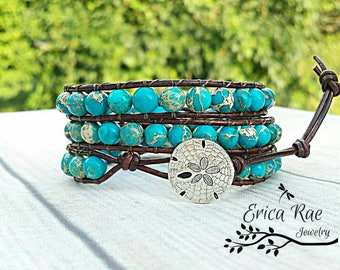 Leather wrap bracelet, turquoise bracelet, sea sediment jasper bracelet, beach bracelet, sand dollar, beach jewelry, gemstone jewelry, boho