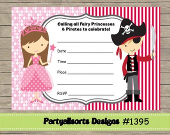 DIY - FILL IN Yourself Fairy Princess and Pirate/Childrens Party Invitation