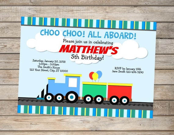 Train Invitation Custom Choo Choo Train Birthday Party Invitation