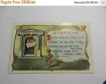 Summer Sale Vintage 1909 A Valentine Cupids Bank Closed Hard Times Carolyn Wells Post Card