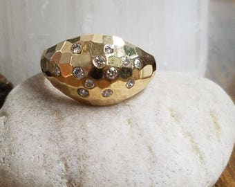 10kt Yellow Gold Faceted Dome Ring with .23cts Diamonds