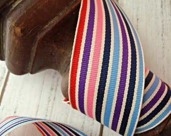 Blue Red Purple and Pink Stripe Grosgrain Ribbon