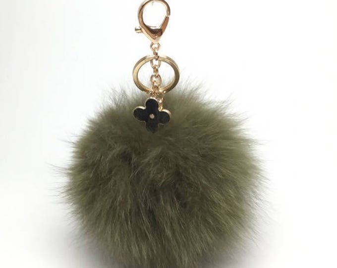 New! Forest Green fox fur Pompon bag charm pendant Fur Pom Pom keychain keyring with flower charm