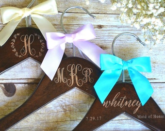 2 Personalized Wedding Dress Hangers, Bridal Party Hanger, Bridal Hanger, Wedding Hanger, Bridesmaid Gift, Custom Engraved Hanger Bridesmaid