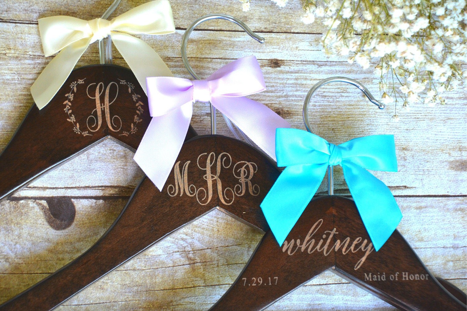 2 personalized wedding dress hangers bridal party hanger for Personalized wedding dress hangers