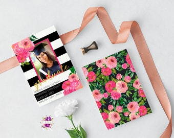 Graduation Announcement - Black and White Striped - Pink White and Black - Watercolor Roses Floral - Pink Roses - College High School Grad