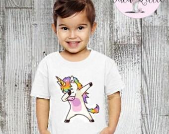 Unicorn dabbing t-shirt, raglan, or onesie - dab, dabbing - dancing unicorn
