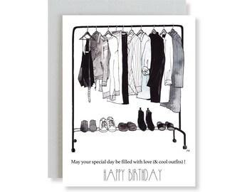 Funny Birthday Card Her /Happy Birthday /Birthday Card for Wife /Card for Bae/Friend Birthday Card Her/Fashion Illustration/Best Friend Card