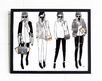 Fashion Girl Print / Fashion Illustration / Fashion Wall Art / Fashion Poster / Illustration Poster / Fashion Sketch / Best Friend Gift