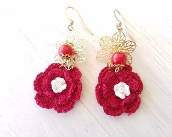Baroque Dolce Sicilian Filigree Ceramic Flower Red Crochet Glass Beads Charms Romantic Earrings