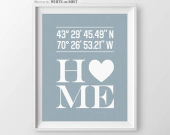 Custom Home Sign Home Decor Foyer Wall Art Home Improvement Personalized Print Housewarming Present GPS Coordinates Entryway Decor Sign
