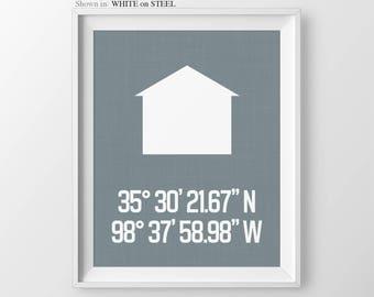 Latitude Longitude Personalized House Coordinates Print Housewarming Gift New Home Gift Anniversary Gift First Home Gift Bridal Shower Gift
