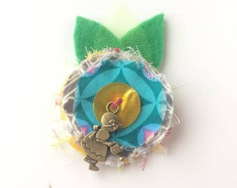 Kids hair clip flower grey and yellow heart - textile brooch - hair jewelry