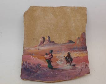Vintage Hand Painted Southwest Scene on Flagstone - Navajo Painting - Native American Painting - Flagstone Painting - Southwest Painting
