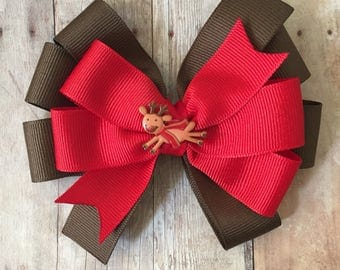 Rudolph Pinwheel Bow, Christmas Hair Bow, Reindeer Bow