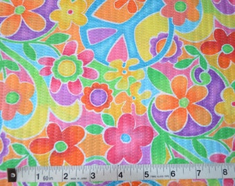 Item 437, Tutti Frutti Plisse Fabric, Poly Cotton Blend, Floral Peace Signs, By the Yard