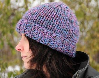 Purple knit hat, tonal purple hat, purple hat, Hand knit hat, beanie, women's winter hat, gift for her, Christmas gift