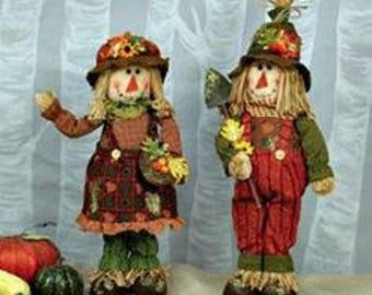 SALE!!! Glitter Foliage Scarecrow Sitter Couple/Wreath Supplies/Fall Decoration/75407