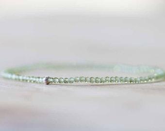 Peridot Stretch Bracelet, Ultra Delicate Beaded Peridot Elastic Stacking Bracelet, Sterling Silver Rose Gold Filled, August Birthstone