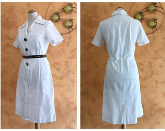 Vintage 1940s 1950s White Cotton Broderie Anglaise Day Dress - size S/M