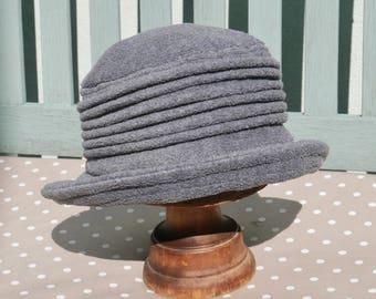 Dark grey fleece hat, grey cloche hat, grey winter hat, charcoal grey fleece hat, Grey warm hat, grey bucket hat, elephant grey cloche hat