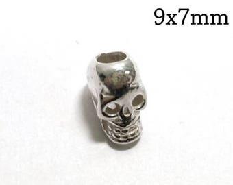 4 pcs Sterling Silver Skull Bead, Silver Skull Charm, Small Skull Charm, Antique Silver Skull Charm, Silver Skull Head Bead, 9x7mm