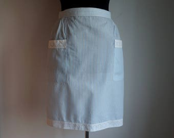 Striped half apron, white and light blue stripes, white eyelet embroidery cotton lace, two pockets, back bow, vintage maid costume