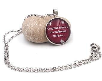 Center cabochon favorite silver necklace