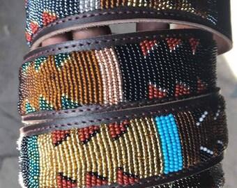 African handmade beaded leather belt/ handcrafted leather belt/ Denim leather belt/ genuine leather belt/Kenya belt/leather accessories