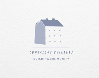 Pre Made Logo // Illustrated Building Logo Design // Hand Drawn Branding // Customized with Your Name