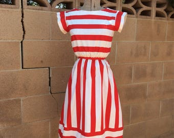 Vintage 1970s Red and White Candy Striped Aline Dress XXS XS