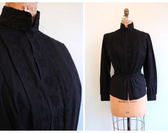 Vintage 1910's Edwardian Black Linen Blouse | Size Small